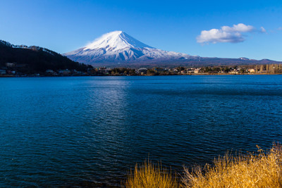 Sacred mountain of Fuji on  top covered with snow with Reflectio