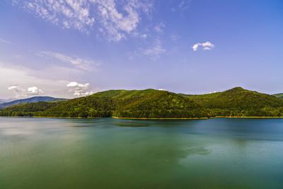 Vidraru 阿尔杰什河上的大坝。阿尔杰什、 罗马尼亚。水力电力
