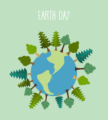 Earth day. Earth with trees.   Vector geometric trees and grass