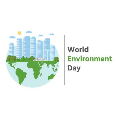 快乐世界环境日明信片与绿色城市背景