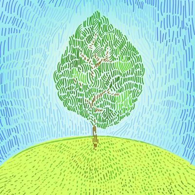 关于山矢量插画艺术绿树