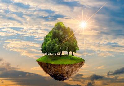 天空中有树的漂浮岛屿世界环境日世界环境保护日环境