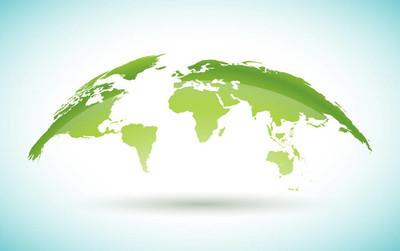 世界地图设计的白色背景上的环境概念。地球例证与大陆。横幅、海报或贺卡的矢量图形