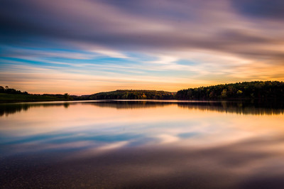 Evening long exposure of clouds moving over  Long Arm Reservoir,