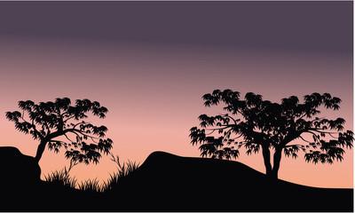 树在山风景剪影