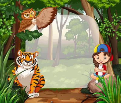 小女孩,在丛林中的野生动物