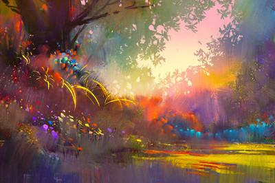 多彩的山水画