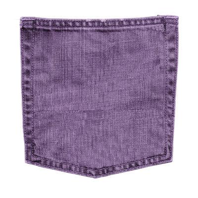 紫罗兰色的牛仔裤口袋里