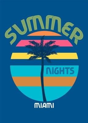 迈阿密夏季-t-shirt 打印海报矢量插图