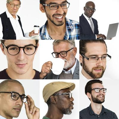 戴眼镜的多样性男人