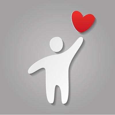 纸的爱的人的心模板