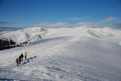 冬山风景的游客