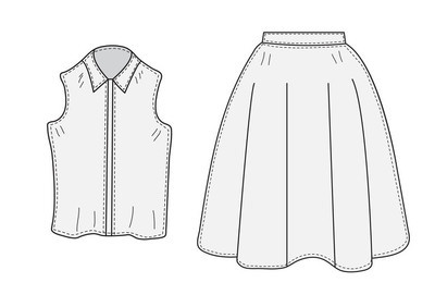 Skirt and blouse set sketch retro style. Clothes, hand-drawing, doodle style. Women suit. vector illustration.