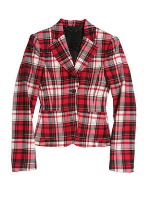 红色格仔的外套