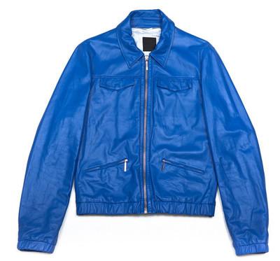 蓝色皮革外套拉链