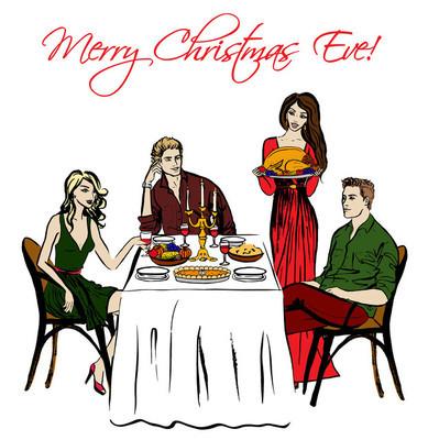 感恩节或圣诞节晚餐