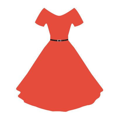 Vector red women dress with flat color.