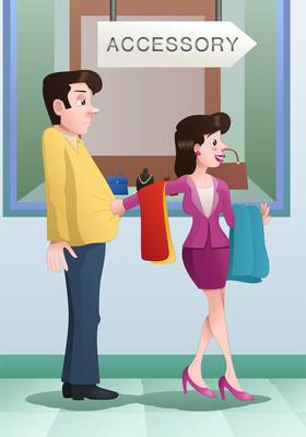 购物女士买很多衣服