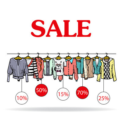 Vector illustration with sale of  women's clothing