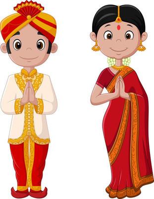 穿着传统服饰的卡通印度情侣