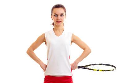 网球球拍的女人