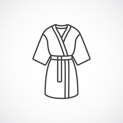 Kimono silk robe.  Vector line icon kimono robe