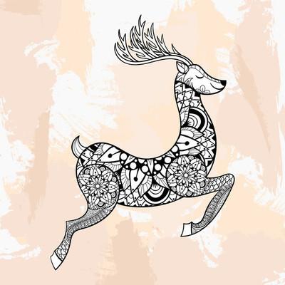Zentangle vector Rundeer for Chriatmas decorations, tattoo in hi