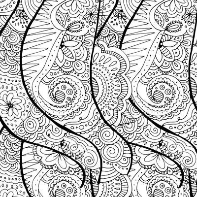 涂鸦手绘波浪背景。成年人的着色页