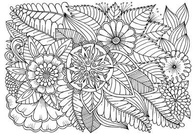 黑色和白色花朵图案为成人着色书的