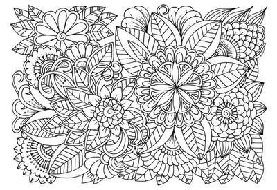 黑色和白色花朵图案着色