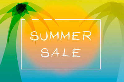 Summer sale poster with tropical theme