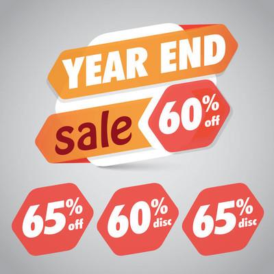 年终销售 60% 65% 折扣标签营销零售元素设计