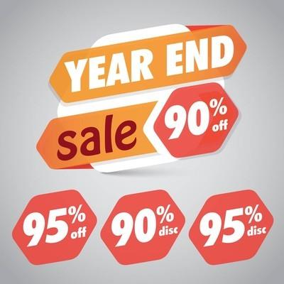 年终销售 90% 95% 折扣标签营销零售元素设计