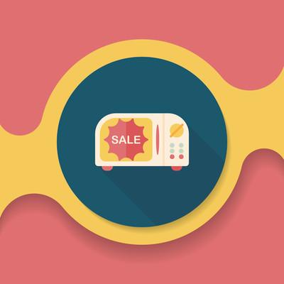 购物 slae 微波炉烤箱平面图标与长长的影子,eps10
