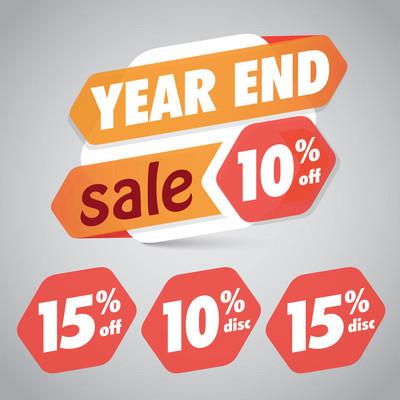 年终销售 10% 15% 折扣标签营销零售元素设计