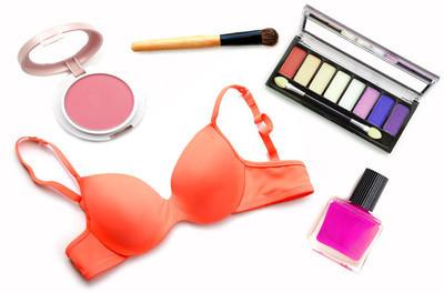 美丽和时尚产品-化妆品和胸罩隔离