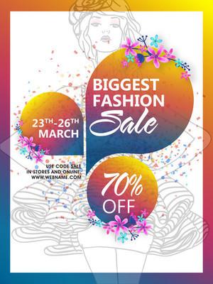 Biggest Fashion Sale Poster, Banner or Flyer.
