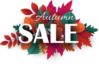 秋天销售促销海报与美丽的叶子