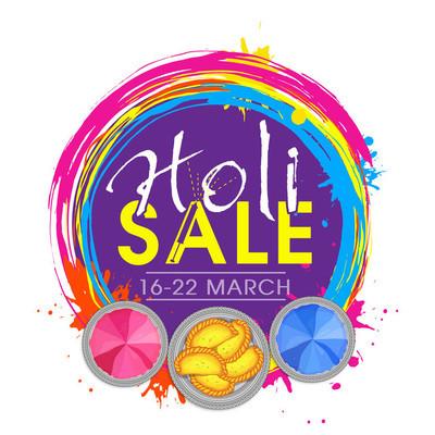 Sale poster, banner or flyer for Holi Festival.