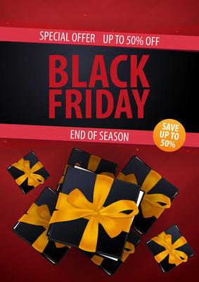 黑色星期五销售海报或传单。折扣背景为网上商店, 商店, 促销传单, 海报, 横幅。矢量插图