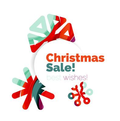 几何的圣诞销售或促销广告横幅