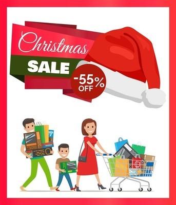 圣诞促销海报矢量插图