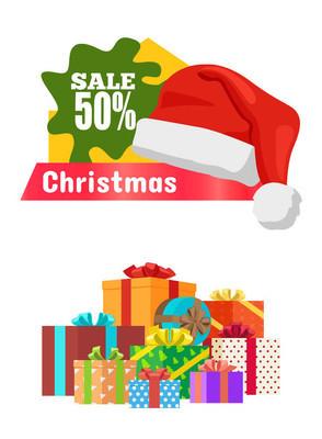 圣诞促销海报促销标签帽子和礼物
