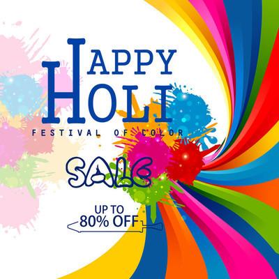 多彩快乐 Hoil 促销购物广告背景在印度的节日颜色