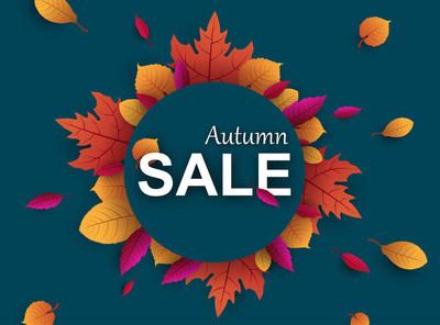 蓝色秋天销售促销海报与美丽的叶子