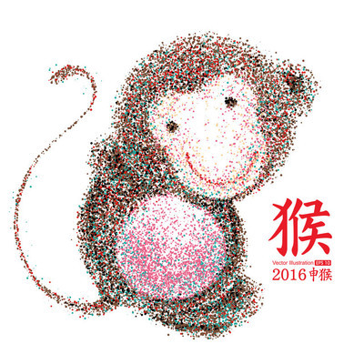 Chinese Year of the Monkey, Particles,vector illustration.