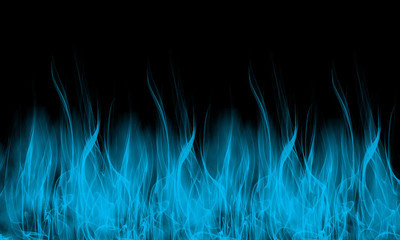 蓝色的火焰上黑色背景壁纸