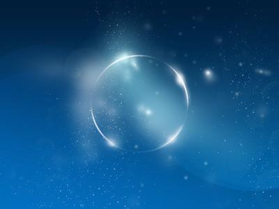 蓝色宇宙背景、 星星、 火焰戒指
