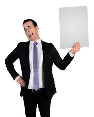 Business man laugh at empty file