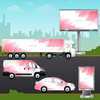Template vehicle for outdoor advertising